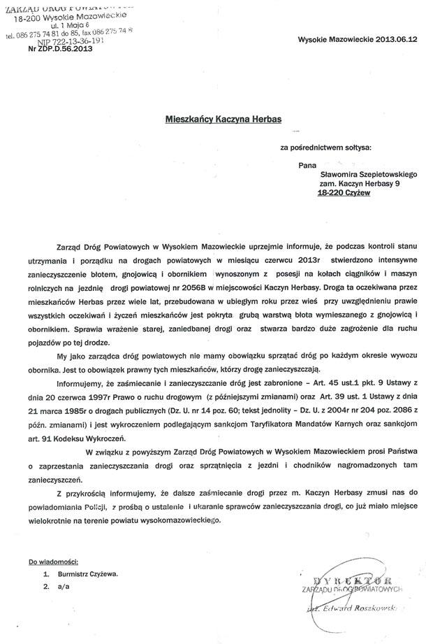 Pismo Kaczyn-Herbasy