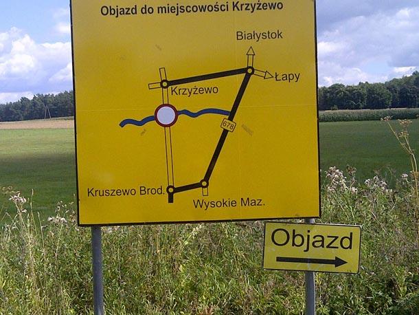 Drogowskaz objazdy Sokoły Krzyżewo