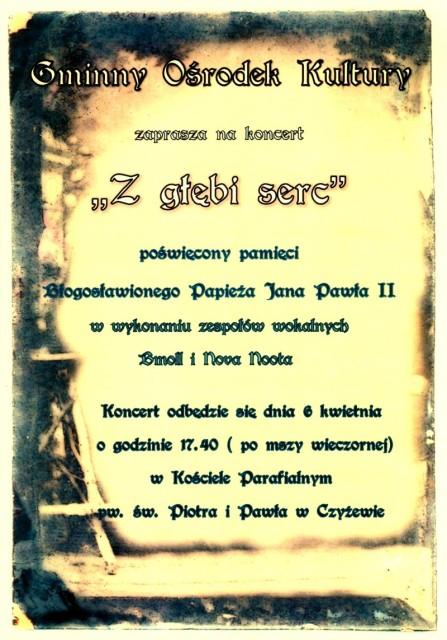 Plakat do koncertu pamięci Jana Pawła II