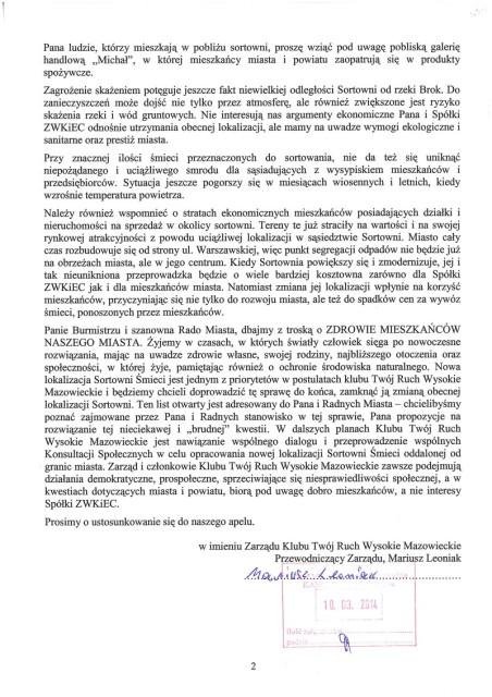 List skierowany do Burmistrza