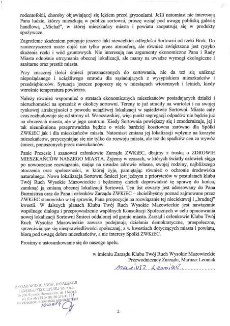 Pismo do Prezes Zarządu, Andrzej Michalski