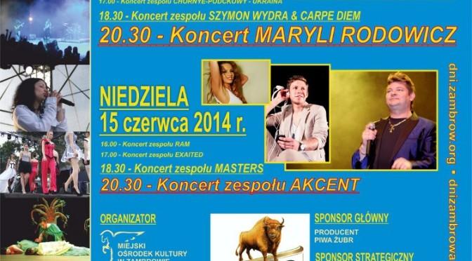 Maryla Rodowicz, Szymon Wydra, Akcent na Dniach Zambrowa – ZAPOWIEDŹ
